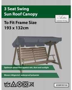 Grey 3 Seat Swing Canopy 193x132cm