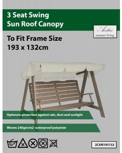 Natural 3 Seat Swing Canopy 193x132cm