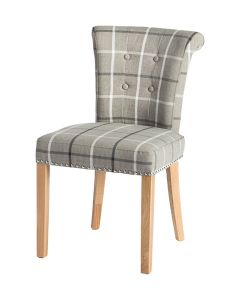 Castle Dining Chair (Moy Grey Check Fabric,  Natural Oak Leg)