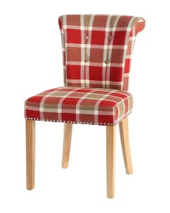 Castle Dining Chair (Prosen Red Check Fabric,  Natural Oak Leg)