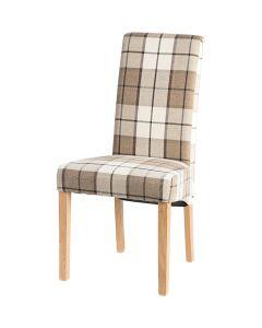 Vestry Dining Chair (Clova Brown Check Fabric, Natural Oak Leg)
