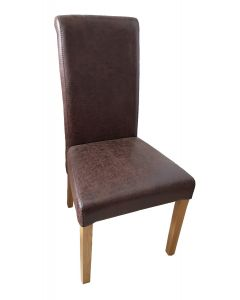 Vestry Dining Chair  (Nevis Faux Leather Fabric,  Natural Oak Leg)