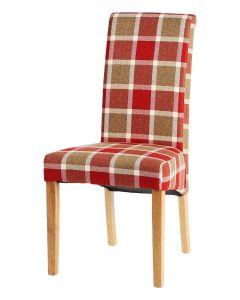 Vestry Dining Chair (Prosen Red Check Fabric,  Natural Oak Leg)
