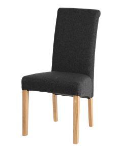 Vestry Dining Chair (Schiehallion Dark Grey Plain Fabric, Natural Oak Leg)