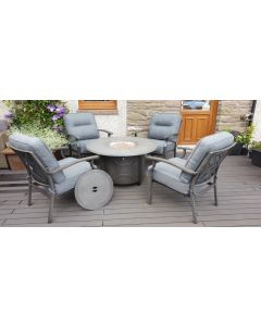 Alabama Round Gas Fire Pit Set