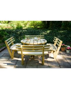 Evlo Round Picnic Table with Backrests
