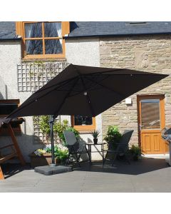 Barbados Cantilever Parasol - 300x300cm Square Anthracite with LEDs
