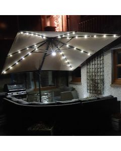 Barbados Cantilever Parasol - 300x300cm Square Taupe with LEDs